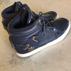 ADIDAS ADI-RISE Blue White Patent Leather Gold 10